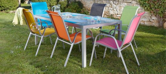 Table jardin coloree for Table exterieur 40x40